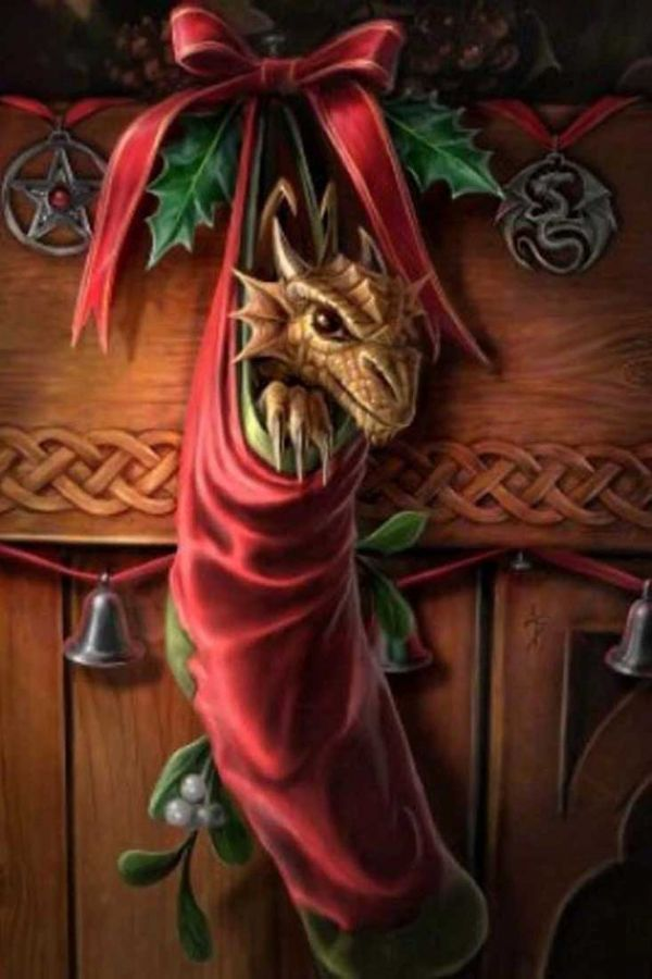 ANNE STOKES Magical Arrival Dragon Christmas Card